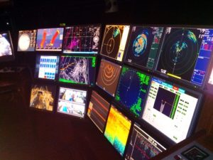 Навигационный мостик, мониторы, охрана судна.